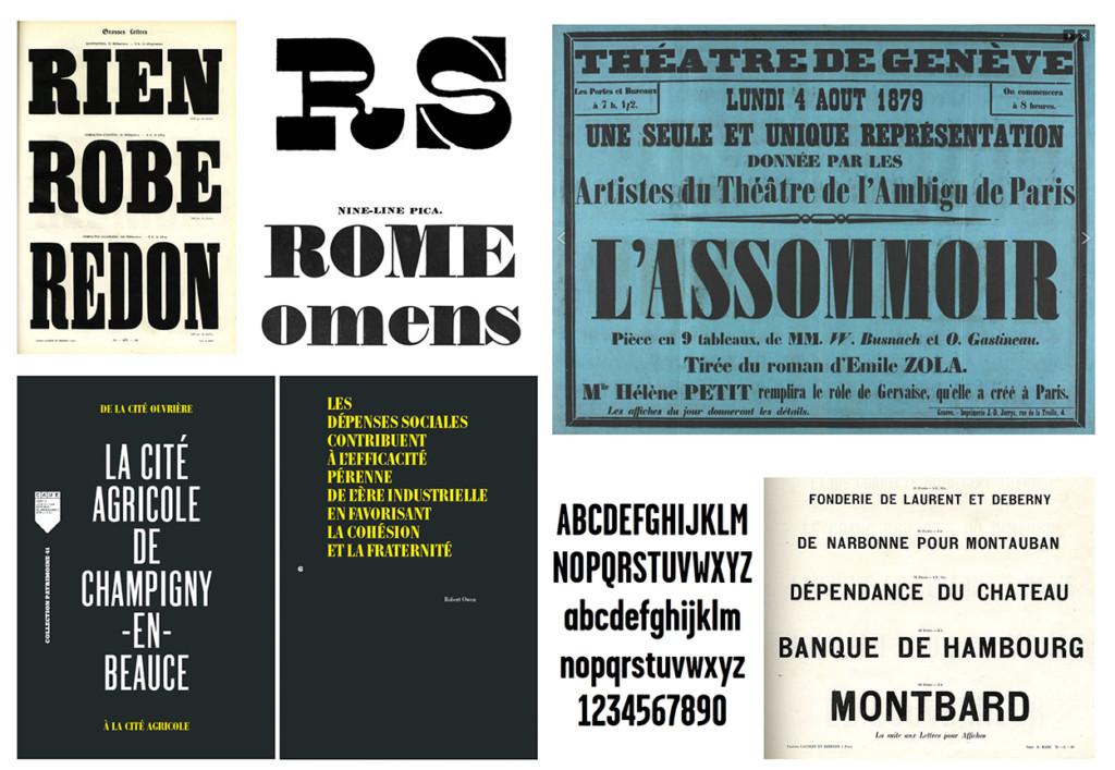 Recherches typographiques, premières mises en page