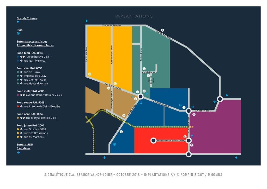 Plan d'implantation des mobiliers, site des Portes de Chambord